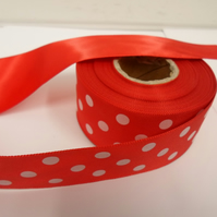 2 metres x 38mm Red Polka Dot Satin Ribbon with White Spots,