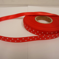 1 roll x 10mm Red Polka Dot Satin Ribbon with White Spots, 25 metres,