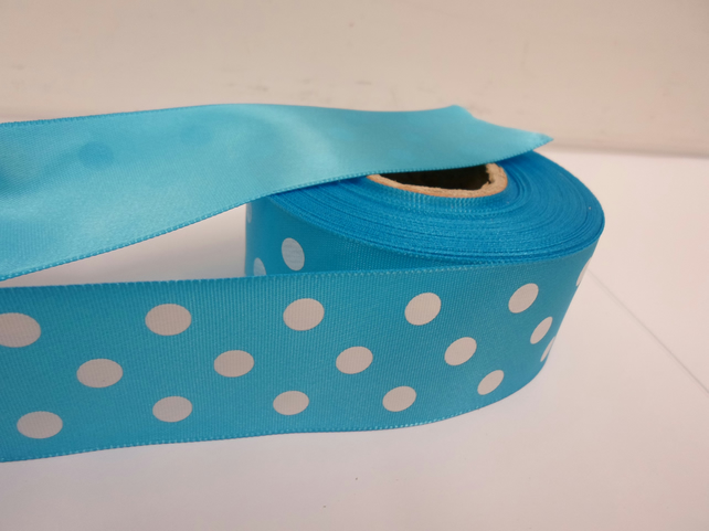 1 roll x 38mm Dark Turquoise Polka Dot Satin Ribbon with White Spots 25 metres,