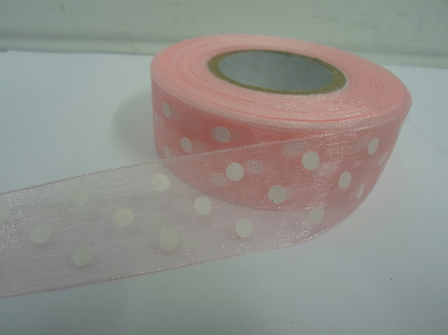 1 roll x 25mm Light Baby Pink and White Polka Dot Sheer Organza Ribbon,