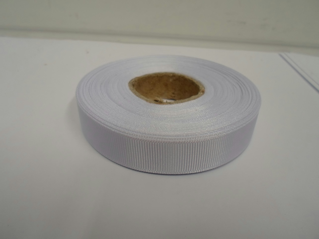1 roll x 16mm White Grosgrain Ribbon, 20 metres per roll, ribbed double sided