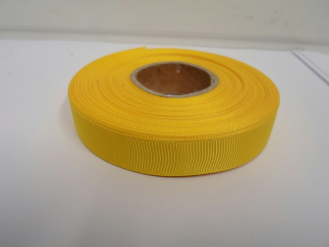 1 roll x 16mm Canary, bright yellow Grosgrain Ribbon, 20 metres, ribbed double