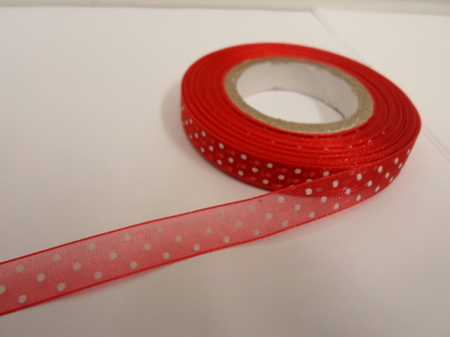 2 metres x 10mm Red and White Polka Dot Sheer Organza Ribbon,