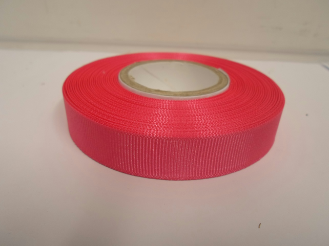 1 roll x 16mm Hot, Bright Pink Grosgrain Ribbon, 20 metres, ribbed double