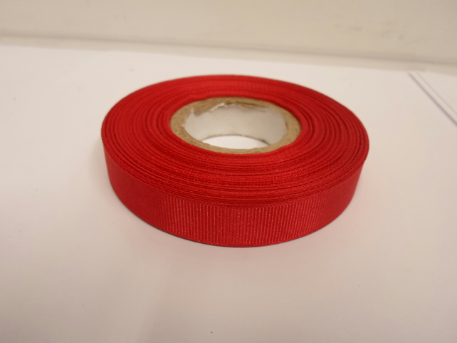 1 roll x 16mm Dark Red Grosgrain Ribbon, 20 metres, ribbed double