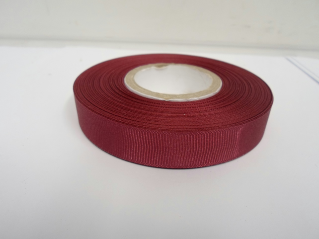 1 roll x 16mm Burgundy Grosgrain Ribbon, 20 metres, ribbed double