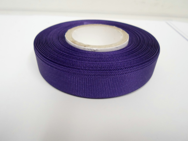 1 roll x 16mm Dark Purple Grosgrain Ribbon, 20 metres, ribbed double