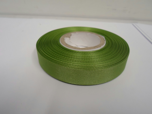 1 roll x 16mm Sage, Light Green Grosgrain Ribbon, 20 metres, ribbed double