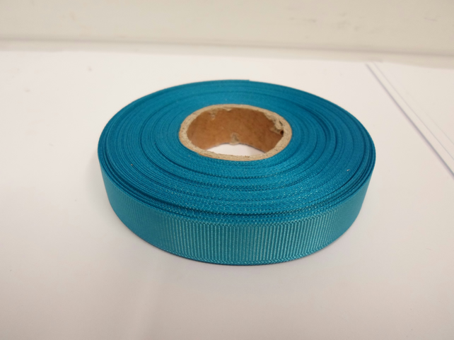 1 roll x 16mm Dark Turquoise Blue Grosgrain Ribbon, 20 metres, ribbed double
