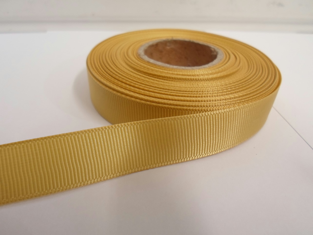 1 roll x 16mm Yellow Gold Grosgrain Ribbon, 20 metres, ribbed