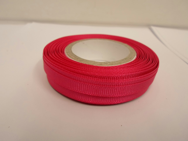 1 roll x 6mm Hot, Bright Pink Grosgrain Ribbon, 20 metres, ribbed