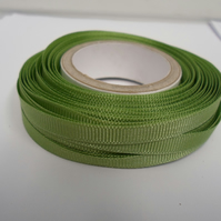 1 roll x 6mm Sage, light green Grosgrain Ribbon, 20 metres, ribbed