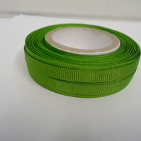 1 roll x 6mm Leaf, bright green Grosgrain Ribbon, 20 metres, ribbed