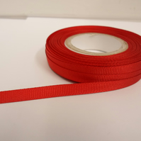 1 roll x 6mm Scarlet, bright Red Grosgrain Ribbon, 20 metres, ribbed