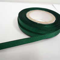 1 roll x 6mm Forest, Dark Green Grosgrain Ribbon, 20 metres, ribbed