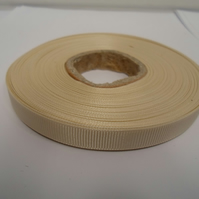 1 roll x 10mm Cream Grosgrain Ribbon, 20 metres, ribbed