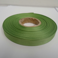 1 roll x 10mm Sage, light green Grosgrain Ribbon, 20 metres, ribbed