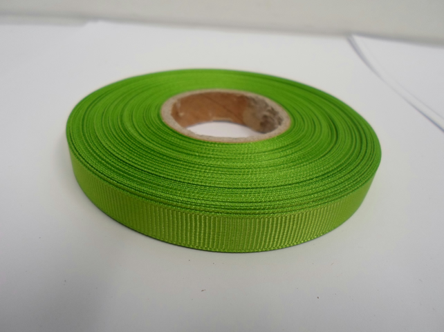 1 roll x 10mm Leaf, Bright green Grosgrain Ribbon, 20 metres, ribbed