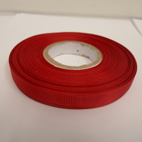 1 roll x 10mm Dak Red Grosgrain Ribbon, 20 metres, ribbed