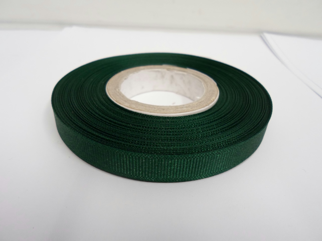 1 roll x 10mm Forest, dark green Grosgrain Ribbon, 20 metres, ribbed