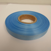 1 roll x 10mm Baby Light Blue Grosgrain Ribbon, 20 metres, ribbed