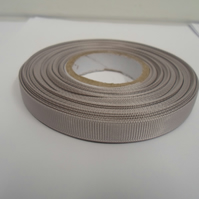 1 roll x 10mm Silver Grosgrain Ribbon, 20 metres, ribbed