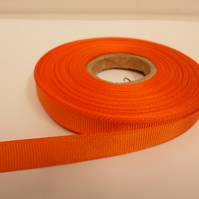1 roll x 10mm Light Orange Grosgrain Ribbon, 20 metres, ribbed
