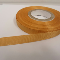 1 roll x 10mm Yellow Gold Grosgrain Ribbon, 20 metres, ribbed