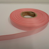 1 roll x 10mm Light Baby Pink Grosgrain Ribbon, 20 metres, ribbed