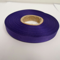 1 roll x 10mm Dark Purple Grosgrain Ribbon, 20 metres, ribbed