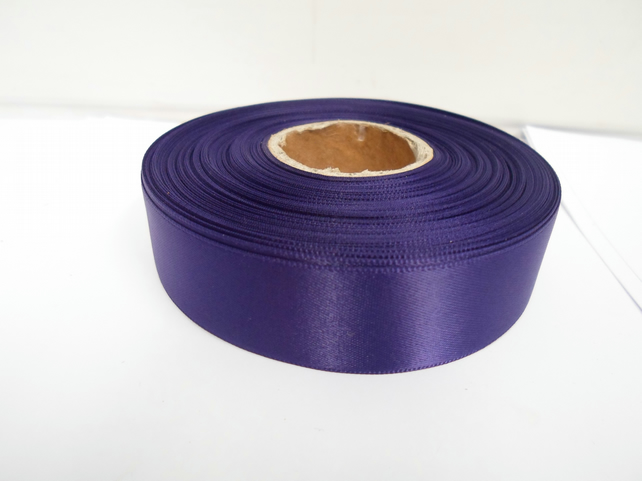 1 roll x 25mm Dark Purple Satin Ribbon, 25 metres,