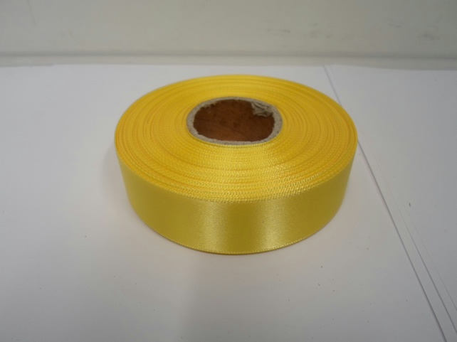 1 roll x 25mm Canary, bright yellow Satin Ribbon, 25 metres,