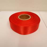 1 roll x 25mm Scarlet, Bright Red Satin Ribbon, 25 metres,