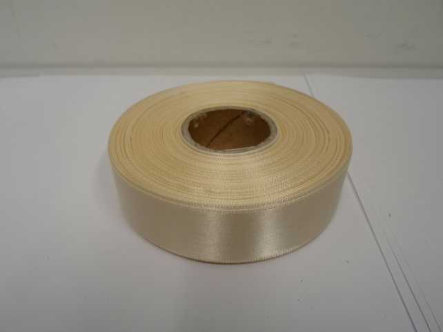 1 roll x 25mm Cream Satin Ribbon, 25 metres,