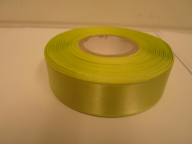 1 roll x 25mm Apple, light green Satin Ribbon, 25 metres,
