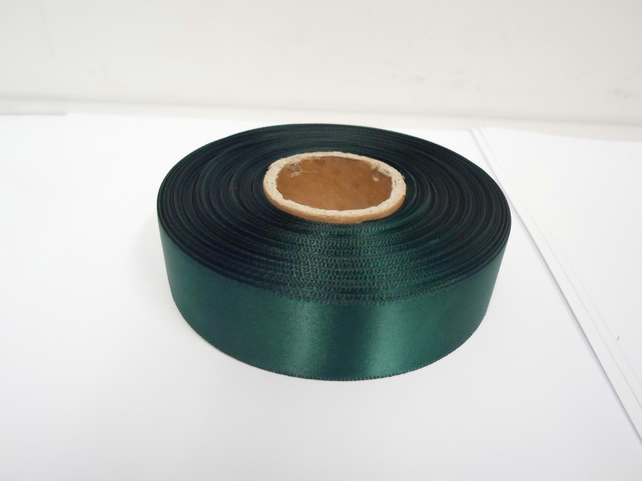 1 roll x 25mm Forest, dark green Satin Ribbon, 25 metres,