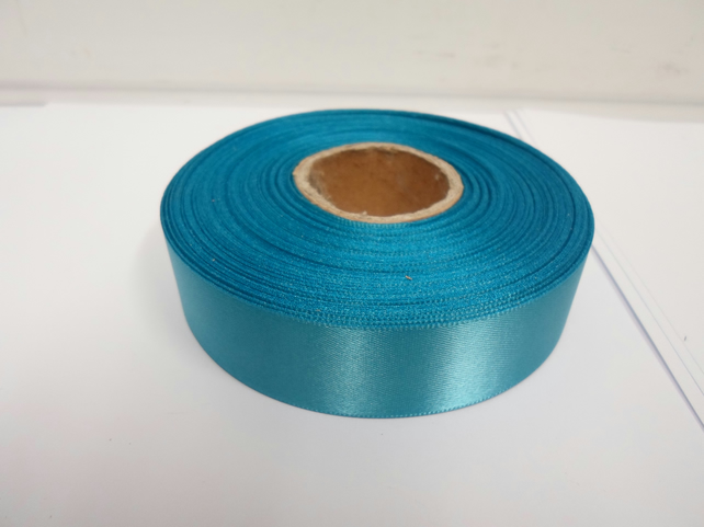 1 roll x 25mm Dark Turquoise Blue Satin Ribbon, 25 metres,