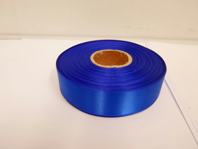 1 roll x 25mm Royal, Cobalt, Dark Blue Satin Ribbon, 25 metres,
