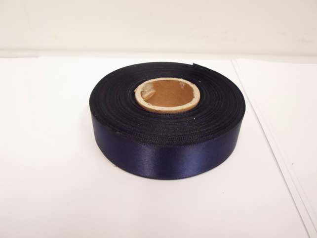 1 roll x 25mm Navy, Dark Blue Satin Ribbon, 25 metres,