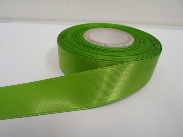 1 roll x 25mm Leaf, Bright Green Satin Ribbon, 25 metres,