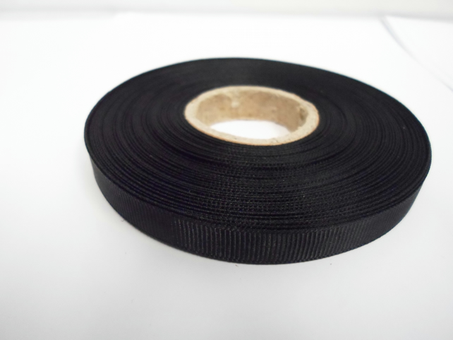 1 roll x 10mm Black Grosgrain Ribbon, 20 metres, ribbed