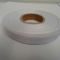 1 roll x 10mm White Grosgrain Ribbon, 20 metres, ribbed