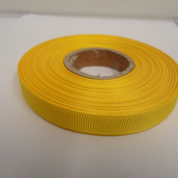 1 roll x 10mm Canary, bright yellow Grosgrain Ribbon, 20 metres, ribbed