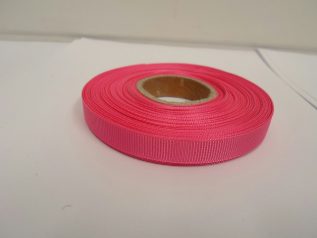 1 roll x 10mm Barbie, bright pink Grosgrain Ribbon, 20 metres, ribbed