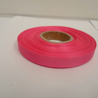 1 roll x 10mm Hot, bright pink Grosgrain Ribbon, 20 metres, ribbed