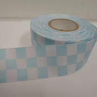1 roll of 38mm Woven Ribbon x 20 metres, Light Blue & White, Square block