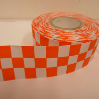 2 metres x 38mm Woven Ribbon, Bright Orange & White, Square block