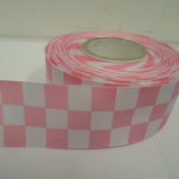 2 metres x 38mm Woven Ribbon, Light Pink & White, Square block