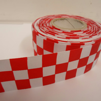 2 metres x 38mm Woven Ribbon, Red & White, Square block