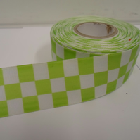 2 metres x 38mm Woven Ribbon, Light Green & White, Square block
